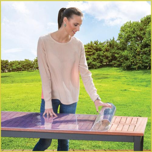Tischfolie, Schutzfolie mit freiem Blick auf die Tischoberfläche